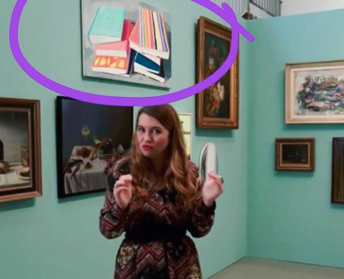 Ann deMeester at Jessica Stockholder Centraal Museum with painting by Britt Dorenbosch