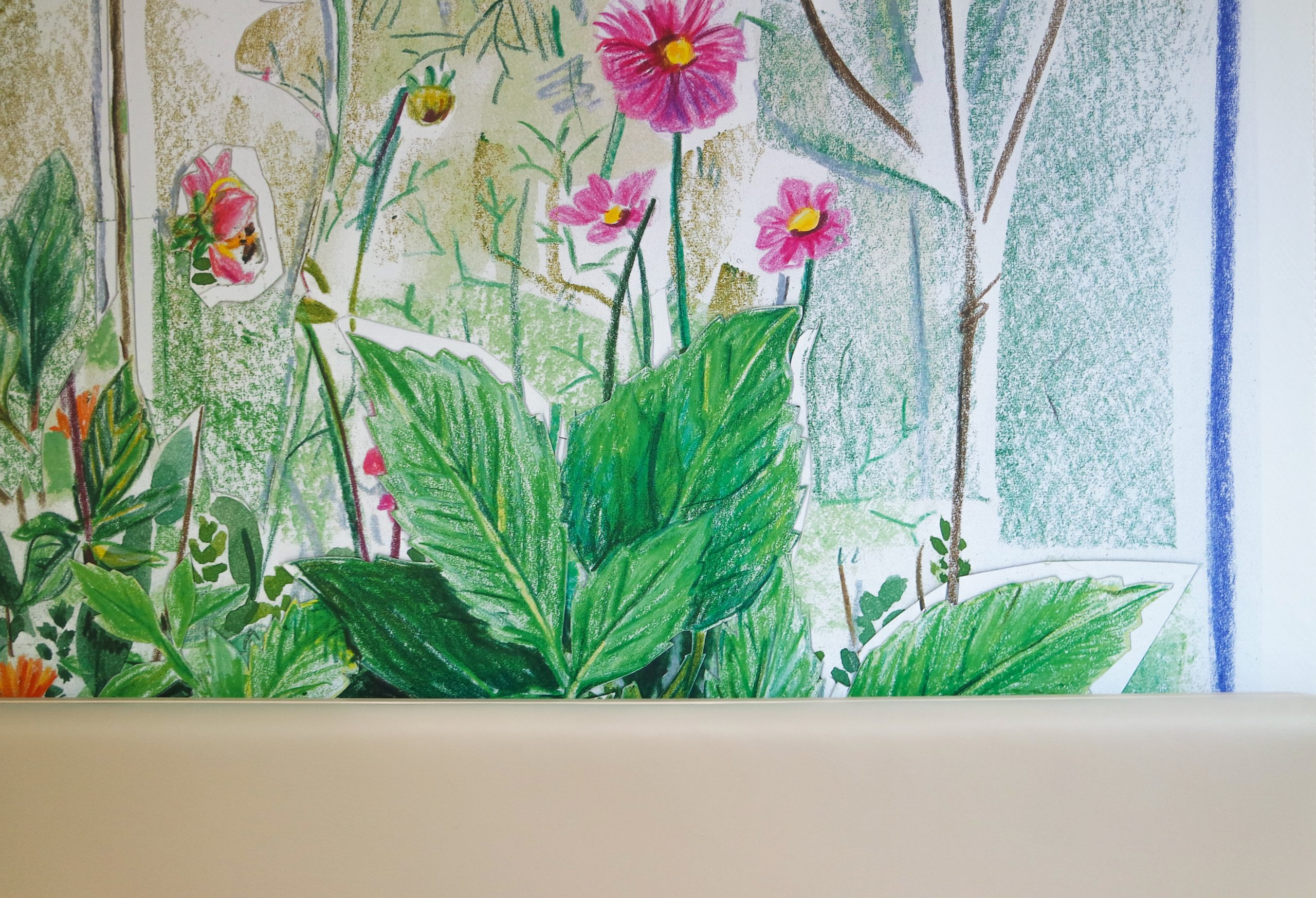 de Tuin Garden Britt Dorenbosch at Rijnstate close-up with flowers drawing