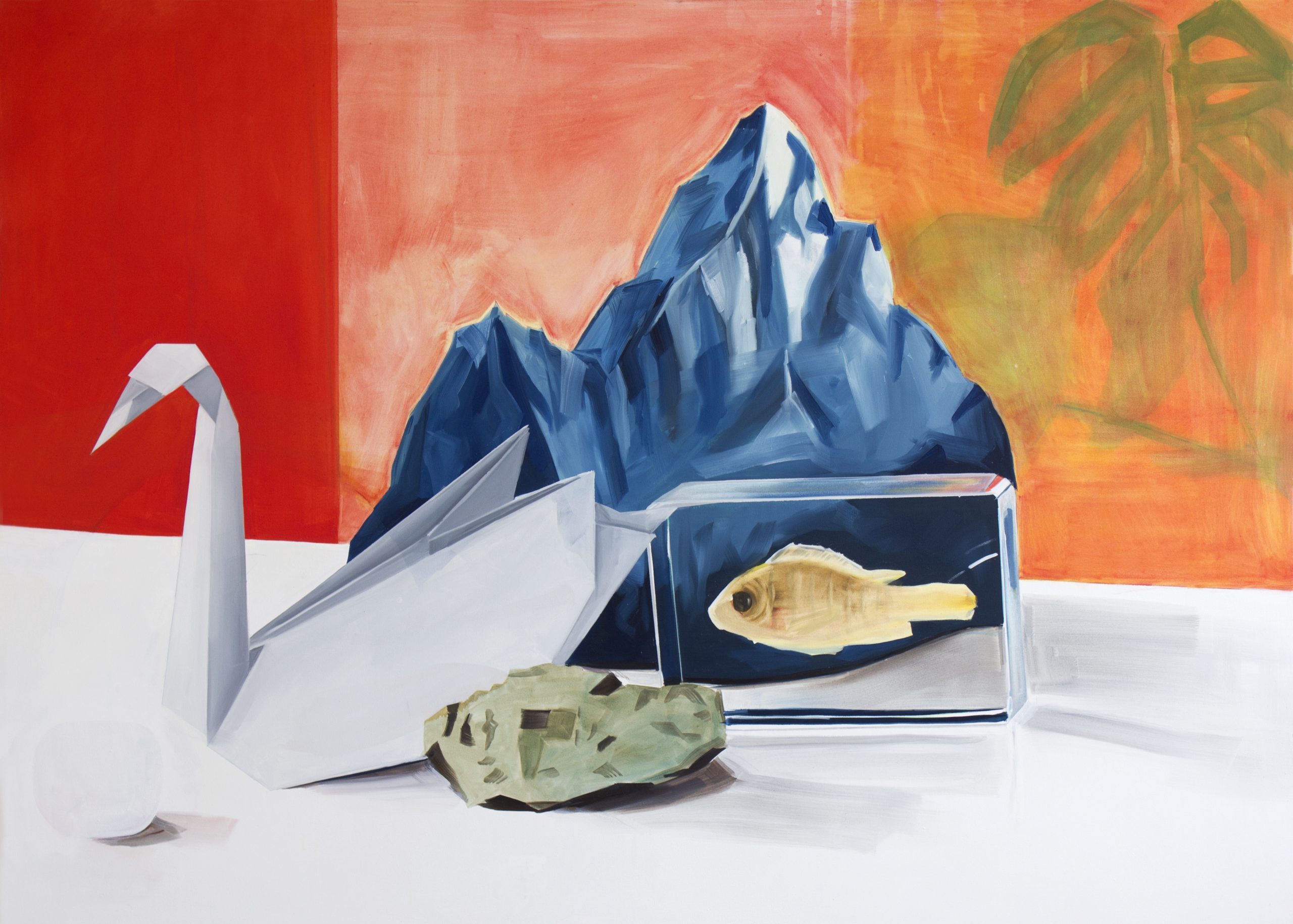 Britt Dorenbosch La Montagne, Swan, mountain and fish