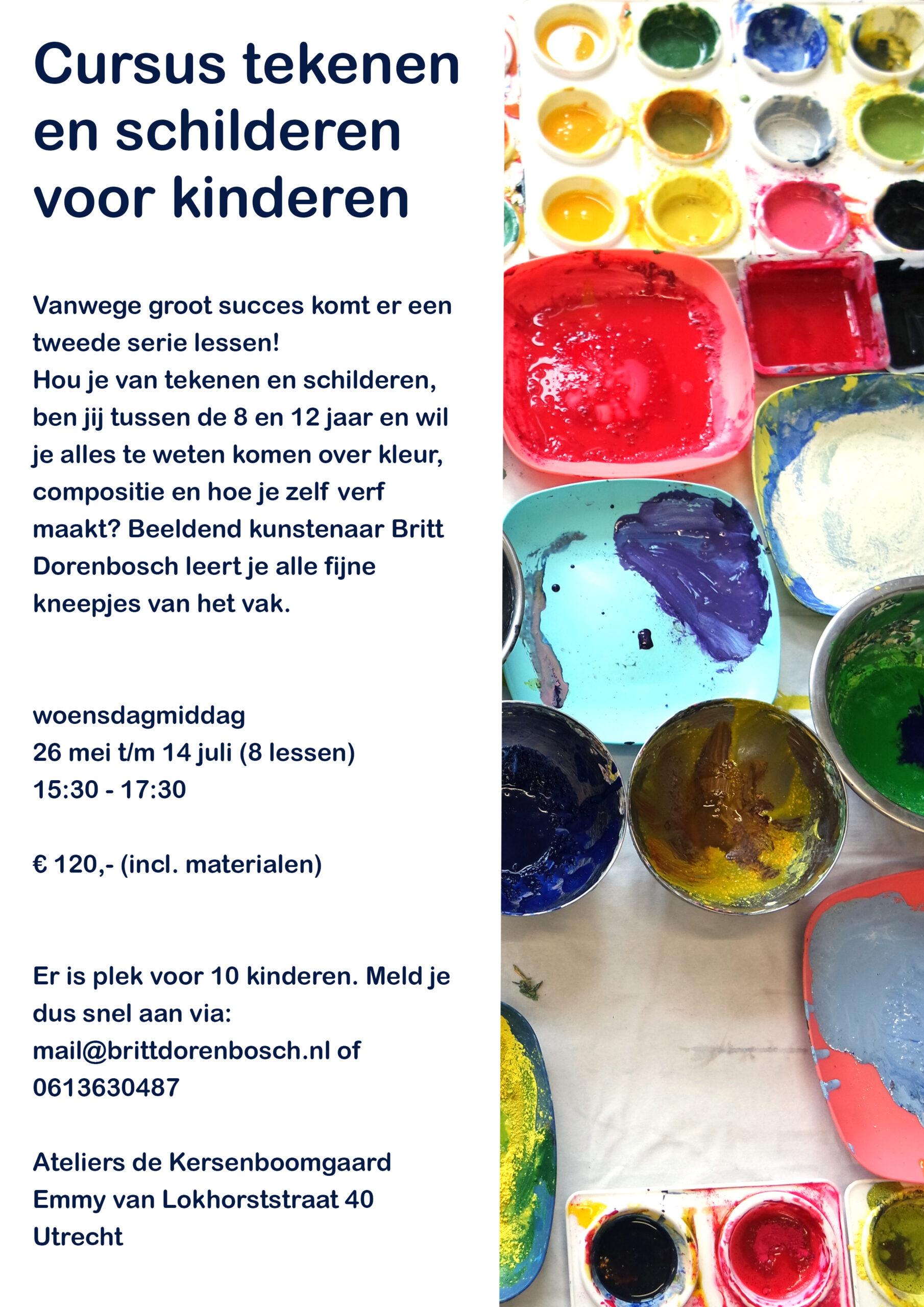 Flyer-Cursus-Tekenen-en-schilderen-2 Utrecht Kinderen Cursus workshop verf schilderen